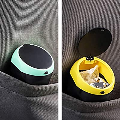 Juvale 2-Pack Small Car Ashtray Mini Trash Can Bin with Lid for Cup Holder, Yellow and Blue, 4 Inches: Automotive