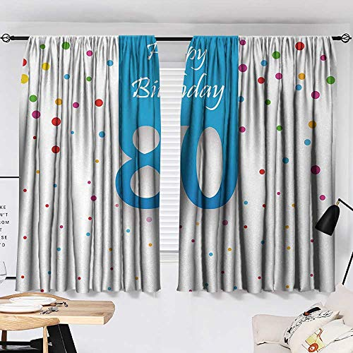 Jinguizi 80th Birthday Curtain for Kitchen Window Abstract Sky Blue Eighty Image on The Colorful Polka Dots Artistic Print Blackout/Room Darkening Curtains Multicolor W55 x L39 by Jinguizi (Image #1)
