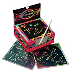 "Creative kids can jot down notes, etch doodles, and make their own exciting drawings with our mini Scratch Art notes. This Scratch Art box includes 125 rainbow mini notes, a wooden stylus, and a handy ""desktop dispenser"" box to keep it all or..."