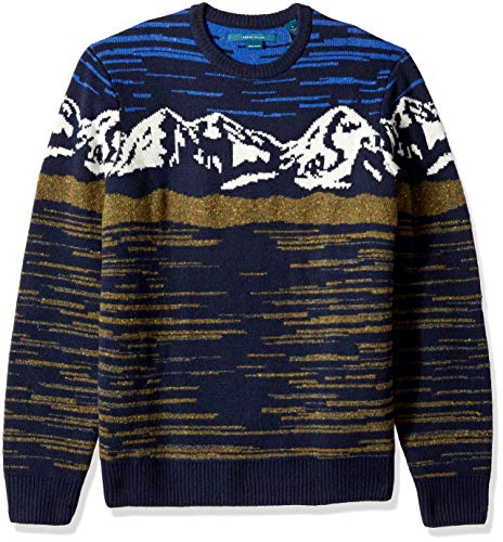 Perry Ellis Men's Lambswool Mountain Print Sweater, Dark Sapphire/DFG Large ()