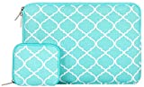 Mosiso Quatrefoil Style Canvas Fabric Laptop Sleeve Bag Cover for 15-15.6 Inch MacBook Pro, Notebook Computer with Small Case, Hot Blue
