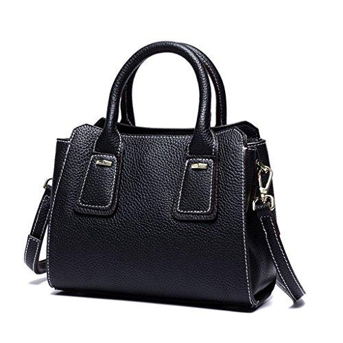 Hecho 5 Capacidad para Sucastle Genuina viaje Bloqueo trabajo hombro Ideal y bolsos Mujer Cuero de Genuino Mano Gran 4 a RFID HH1P0qwx