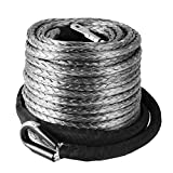 Mophorn Synthetic Winch Rope 3/8'' X 95' Line Cable Heat Guard Sleeve 20500 LBS Protective Stainless Steel Thimble Sleeve for SUV ATV UTV Truck Jeep (95ft)