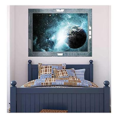 Science Fiction ViewPort Decal Earth Surrounded by Amazing Galaxies Wall Mural