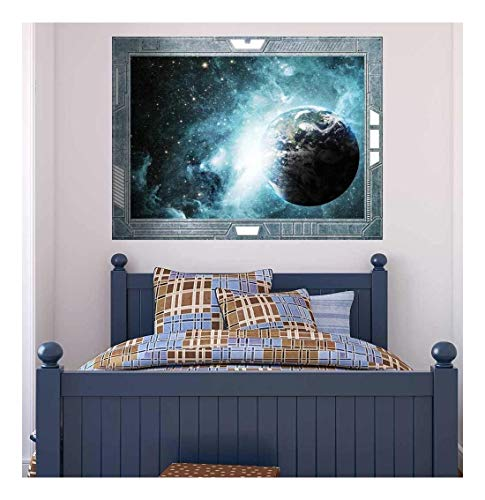 Wall26 - Science Fiction ViewPort - Decal - Earth Surrounded by Amazing Galaxies - Wall Mural, Removable Sticker, Home Decor - 36x48 inches