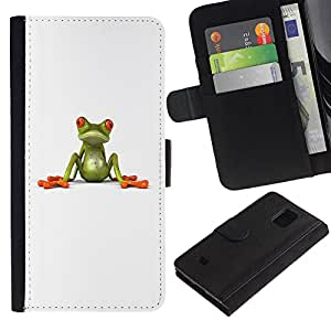 iKiki Tech / Cartera Funda Carcasa - Frog White Minimalist Cute Clean Minimalist - Samsung Galaxy S5 Mini, SM-G800, NOT S5 REGULAR!
