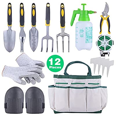 Sonyabecca 12pcs Garden Tools Set Kit Ergonomic Gardening Tools with Garden Tote 6 Hand Tools Anti-Cutting Gloves Sprayer Knee Pads Plant Labels Plant Rope