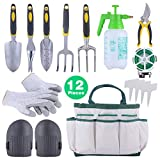 Sonyabecca 12pcs Garden Tools Set Ergonomic Gardening Tools with Garden Tote Anti-cutting Gloves Sprayer Knee Pads Plant Labels Plant Rope
