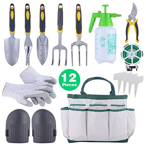 Sonyabecca 12pcs Garden Tools Set Kit Ergonomic Gardening Tools with Garden Tote 6 Hand Tools Anti-Cutting Gloves Sprayer Knee Pads Plant Labels Plant Rope by Sonyabecca