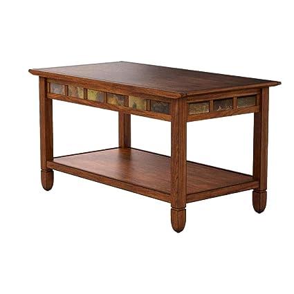 Amazon.com: Inlaid Coffee Table Rustic Oak Hardwood Slate Stone ...