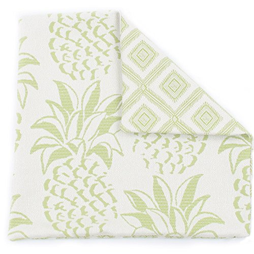 (Chloe & Olive Pineapple Grove Mojito Outdoor Collection Decorative Reversible Fashion Pillow Cover (1 Pillow Cover), 18x18 Inch Square, Green and White )