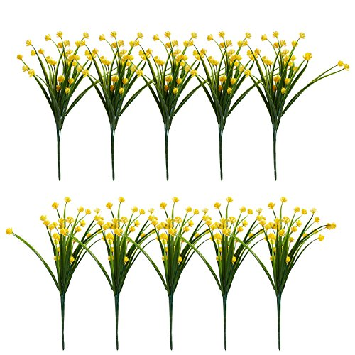 Artificial Daffodils 10 Bundles - Silk Flowers Daffodils Bouquet, Fake Flowers Wedding Party, Valentine's Day, Home Decoration, Yellow ()