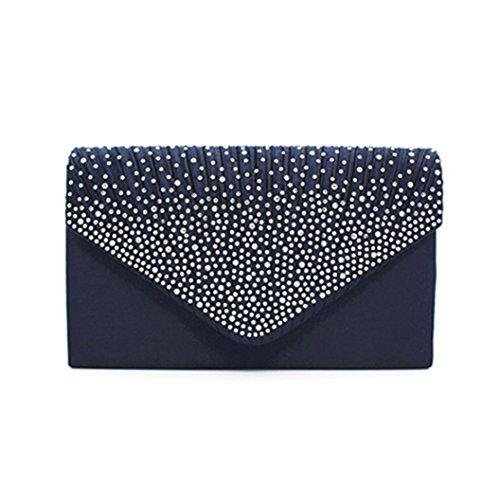 Fullfun Blue Bag Clutch Deep Diamante Satin Evening Ladies 0xnwTrFq80