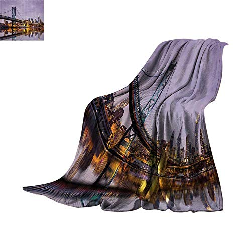 Lightweight Blanket Apartment Decor Collection,Ben Franklin Bridge and Philadelphia Skyline under Sunsets Reflections on Water Image,Gray Ivory Print Summer Quilt Comforter Bed or Couch 70