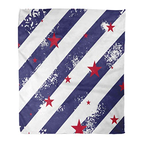 (Emvency Decorative Throw Blanket 50 x 60 Inches Vintage with Blue Grunge Lines and Red Stars 4Th Abstract America American Captain Warm Flannel Soft Blanket for Couch Sofa Bed)