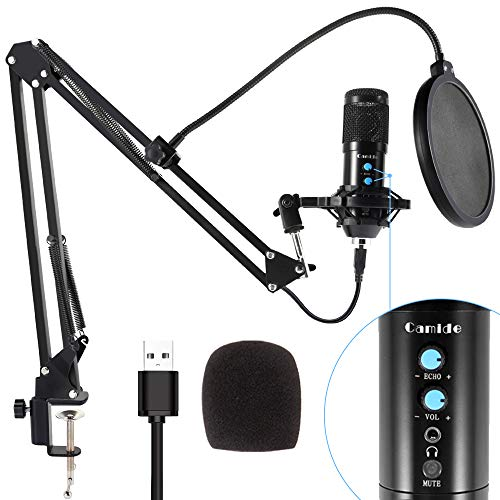 USB Microphone Kit, Camide Studio Condenser Computer PC Microphone Kit with Adjustable Scissor Arm Stand Shock Mount, Plug & Play Recording Microphone for PC Gaming Streaming Podcasting YouTube