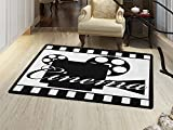 Movie Theater Bath Mats Carpet Monochrome Cinema Projector inside a Strip Frame Abstract Geometric Pattern Floor Mat Pattern Black White