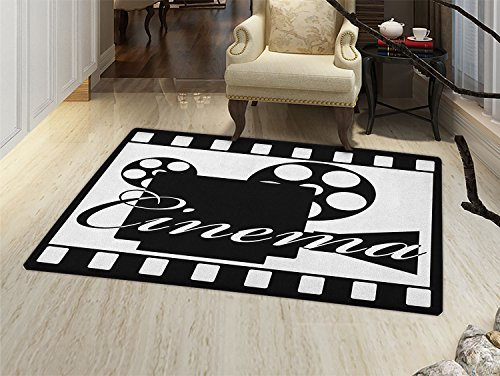 smallbeefly Movie Theater Floor Mat for kids Monochrome Cinema Projector inside a Strip Frame Abstract Geometric Pattern Door Mat Increase Black White