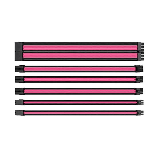 Thermaltake TtMod Sleeve Extension Power Supply Cable Kit ATX/EPS/8-pin PCI-E/6-pin PCI-E with Combs, Pink/Black AC-046… 51 I2nuY36L. SS555