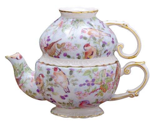 Chintz Gold (Gracie China by Coastline Imports 5-1/4-Inch Tea For One Set, Blue Birds Chintz with Gold Trim)