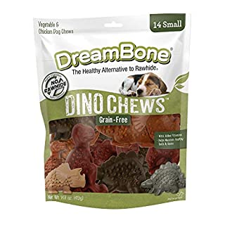 DreamBone Small DinoChews 14 Count, Rawhide-Free Dinosaur-Shape Treats For Dogs