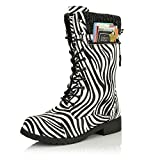 DailyShoes Women's Combat Style Lace up Ankle Bootie Round Toe Military Knit Credit Card Knife Money Wallet Pocket Boots, Zebra Pu, 7.5