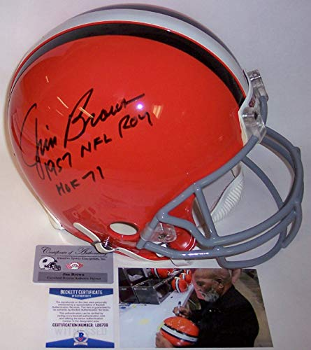 Jim Brown Autographed Hand Signed Cleveland Browns Throwback Full Size Authentic Pro Football Helmet - with 1957 NFL ROY and HOF 71 Inscriptions - BAS Beckett ()