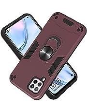Funda para Huawei Nova 6SE Soft TPU + Duro PC Doble Parachoques Cubierta a Anillo Soporte con Soporte y Carcasa Desmontable, Funda Protectora Serie Armadura (Granate)