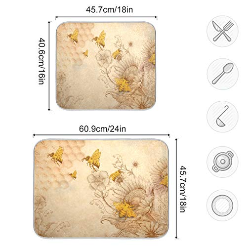 AGONA Vintage Retro Honey Bees Wildflowers Dish Drying Mat 18x24 Reversible Kitchen Microfiber Mat Heat Resistant Absorbent Machine Washable Fast Drying Pad Dish Drainer Mat for Kitchen Counter