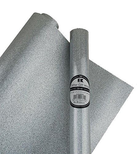 Best Creation Glitter Gift Wrap, 30 x 36-Inch, Silver