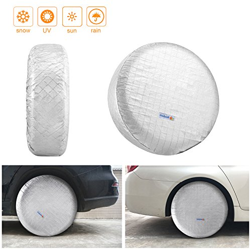 Indeedbuy 4 Pcs Tire Covers for RV Wheel, All Season Set of for Aluminum Film Tire Sun Protectors,Fits 27