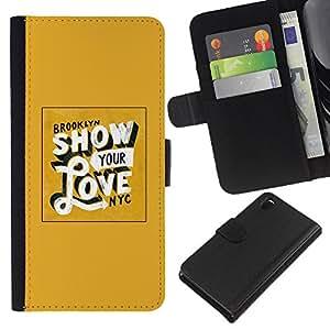 Be-Star la tarjeta de Crédito Slots PU Funda de cuero Monedero caso cubierta de piel Para Sony Xperia Z3 D6603 ( Show Your Love Yellow Gold New York )