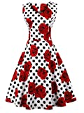 FAIRY COUPLE 50s V-Neck Rockabilly Polka Dots Floral Dress Vintage Dress Cocktail DRT072(M, White Red Flower Dots)