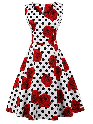 FAIRY COUPLE 50s V-Neck Rockabilly Polka Dots Floral Dress Vintage Dress Cocktail DRT072(M, White Red Flower Dots) by FAIRY COUPLE