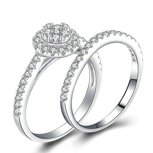 Aokarry 925 Sterling Silver Solitaire Rings for Women Round White Cubic Zirconia Ring Set Size 6.5