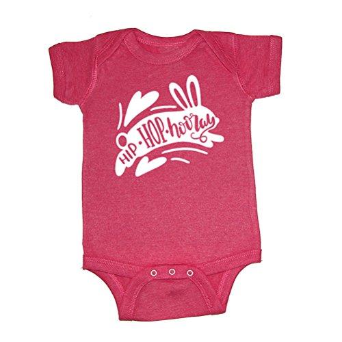 Mashed Clothing Unisex-Baby - Hip Hop Hooray Easter - Super Soft Vintage Blend Baby Bodysuit (Vintage Hot Pink, 18 Months) by Mashed Clothing