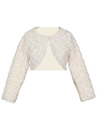 d88b87ed8 Girl s Faux Fur Long Sleeve Bolero Jacket Shrug - Ivory Infant L 12 ...
