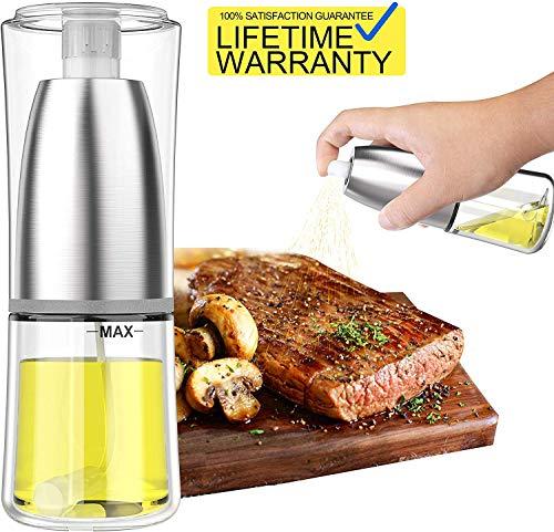 Updated 2020 Version Olive Oil Sprayer Dispenser Mister Bottle For Cooking, BBQ and Air Fryer, Premium Glass Oil Vinegar Soy Sauce Spray for Grilling, Kitchen, Salad, Bread Baking, Frying (120ML)
