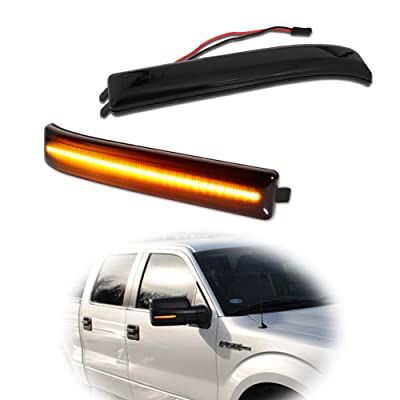 GTINTHEBOX Smoked Lens Amber Led Side Mirror Marker Turn Signal Light Lamp for 2009-2014 Ford F150: Automotive