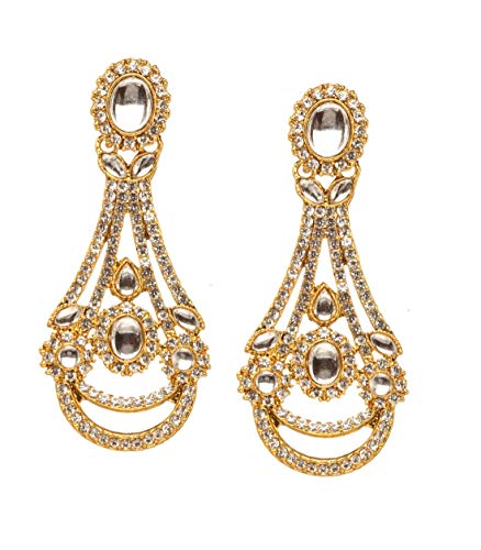 Bindhani Traditional Indian Bollywood Jewelry Fashion Ethnic Bride Bridesmaid Bridal Bollywood Gold Plated Wedding Jewellery Kundan Rhinestone Stone Long Dangle Drop Long Earrings For Women