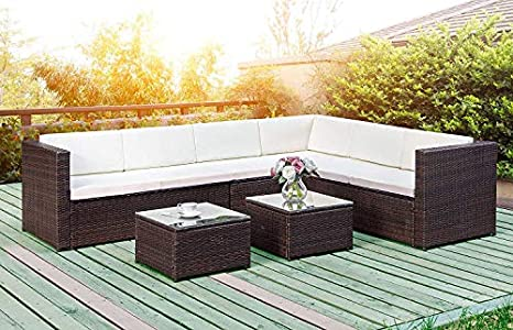 Amazon.com: 5-Piece Outdoor Furniture Sets Wicker Patio ...