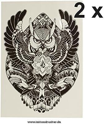 Búho Pulsera de tatuaje negro geométrico temporäres una vez XL ...
