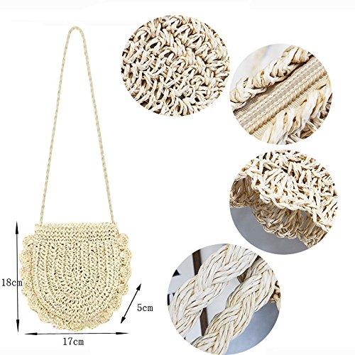 Donalworld Women Beach Bag Round Straw Crochet Shoulder Summer Bag Purse S Shlcf by Donalworld (Image #4)