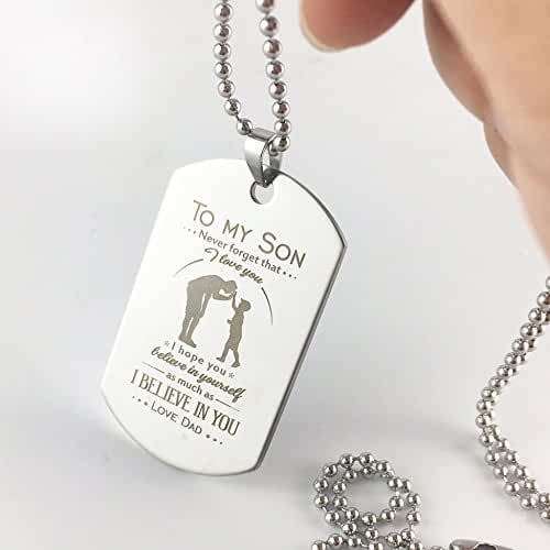 Son Dog Tag Gifts Necklace Father Son Pendant Military Father To Son Birthday Gift for Son from Dad
