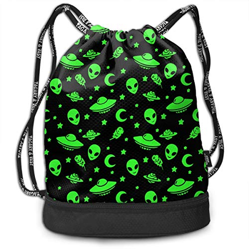 Polyester Drawstring Backpack Theft Proof Water Resistant Large Tote Cinch Sack Large Capacity For Basketball, Volleyball, Sports & Workout Gear (Green Alien Moon Spaceships Planet Black)]()