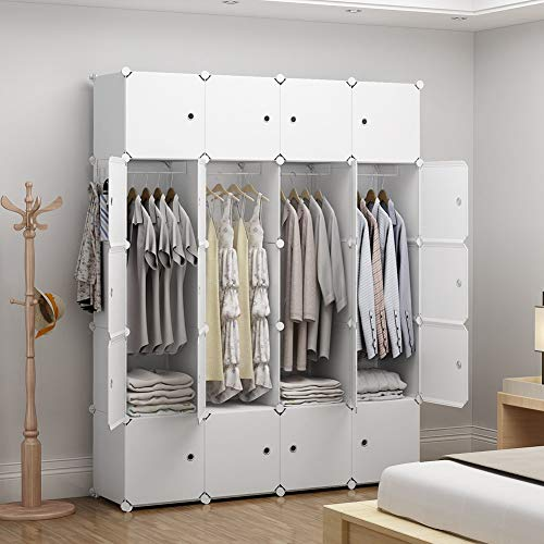 GEORGE&DANIS Portable Wardrobe Plastic Modular Closet Organization Customizable Cube Storage Organizer Bedroom Armoire Dresser, White, 4 Hangers & 8 Cubes