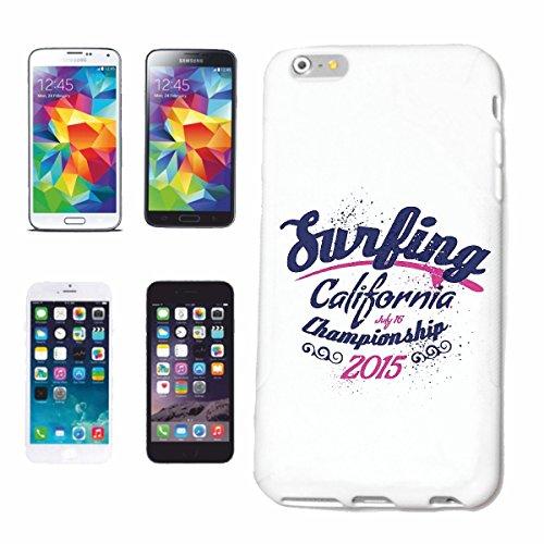 """cas de téléphone iPhone 7 """"Surfing CALIFORNIA CHAMPIONNAT SURFING BEACH SURFBOARDS LONGBOARD ONDES SURF Beginner Shop"""" Hard Case Cover Téléphone Covers Smart Cover pour Apple iPhone en blanc"""