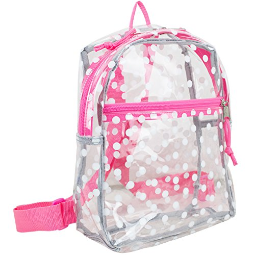 Eastsport 100% Transparent Clear MINI Backpack (10.5 by 8 by 3 Inches), White Dots with Pink Trim