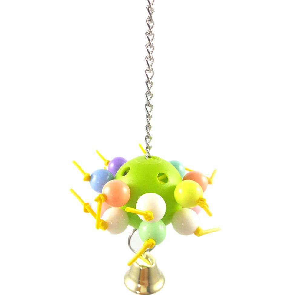 Da.Wa Bird Acrylic Chew Toy With Bell Bite Ball Cage Swing Hanging Play for Macaw African Greys Parakeet Cockatoo Cockatiel Conure Lovebirds Canaries
