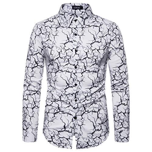 Casual Beach Shirt,Londony Men's Regular Fit Camp Palm Tree Long Sleeves Button Down Hawaiian Shirts Aloha White 18kt White Gold Antique Ring